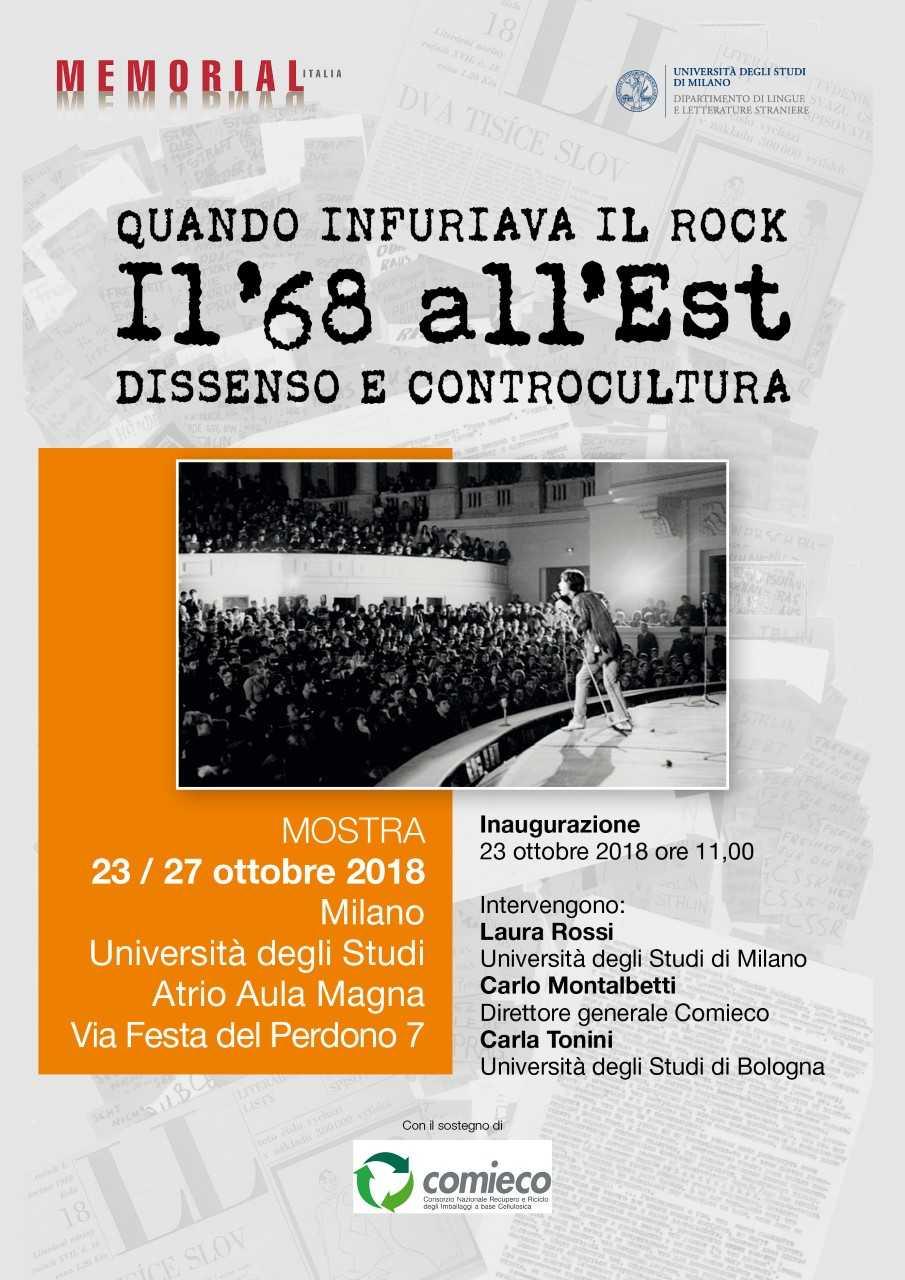 """Locandina della mostra """"Quando infuriava il rock. Il '68 all'Est. Dissenso e controcultura"""""""